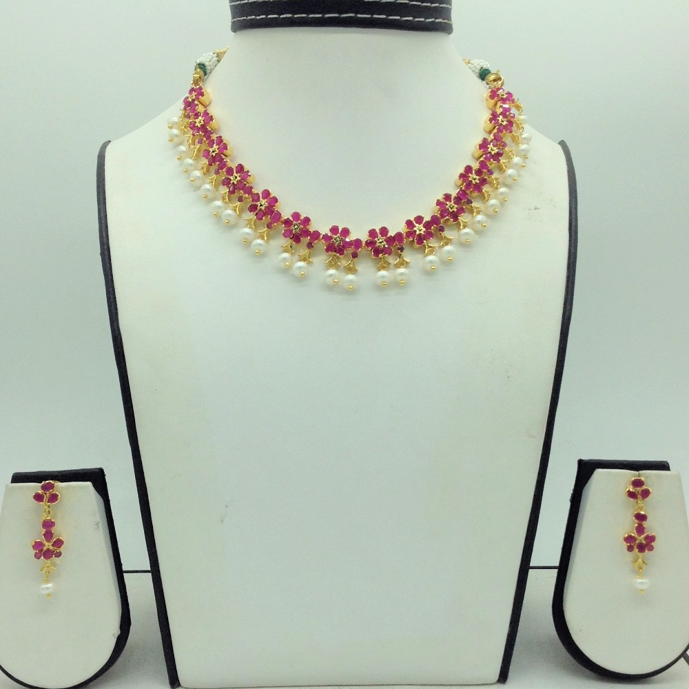 Red CZ and Pearls Necklace Set JNC0167