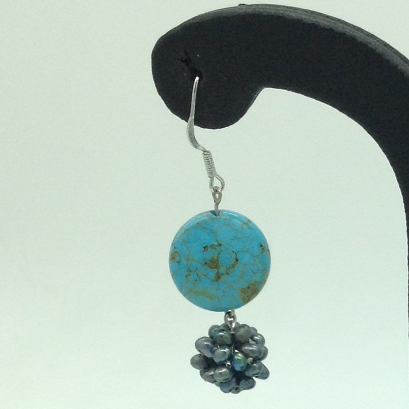 Pearl TurquoiseSilverEar HangingsJER0077