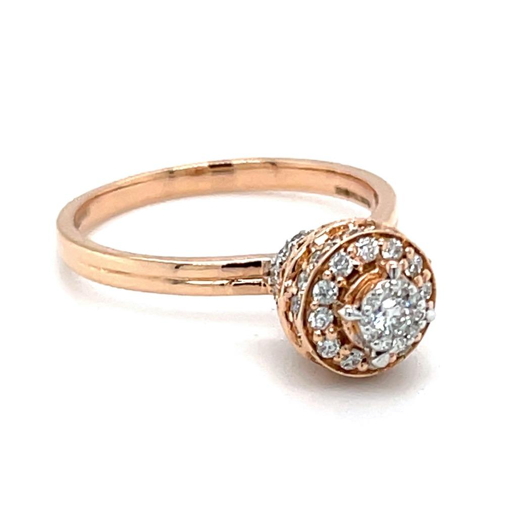 Fancy Vase Shaped Motif Diamond Ring in 18K Rose Gold 0LR164