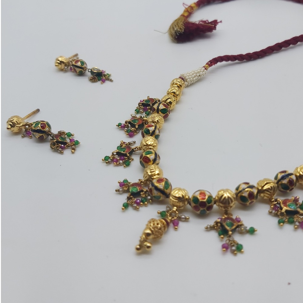 Indian traditional necklace set in jadtar
