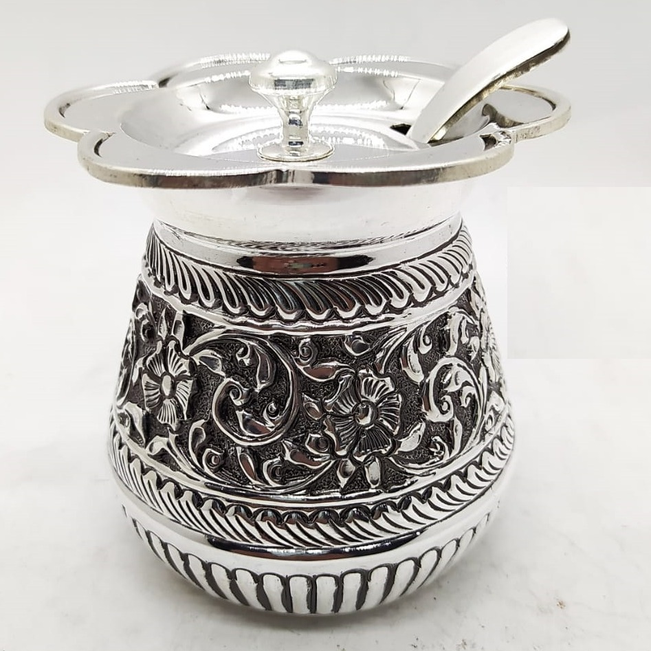 925 Pure Silver Ghee Dani with Spoon and Lid po-244-07
