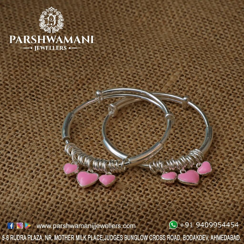 92.5 silver kadli heart shape hanging and adjustable  kadli for women