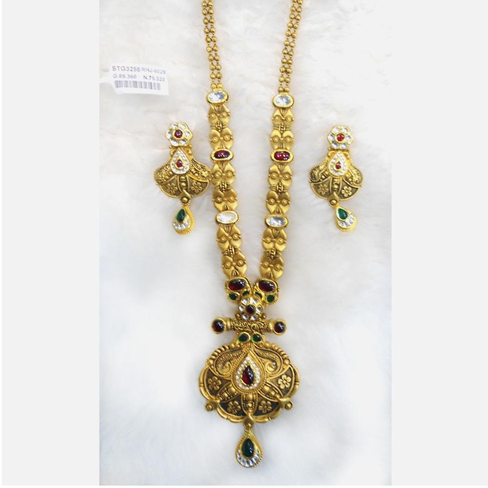 916 Gold Antique Bridal Long Necklace Set RHJ-6029