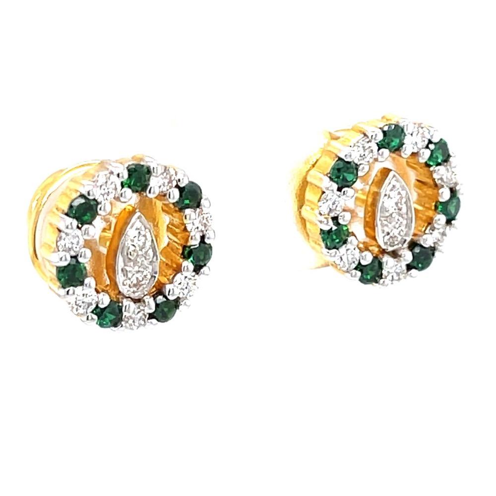 Linda diamond earrings with green stones 8top50