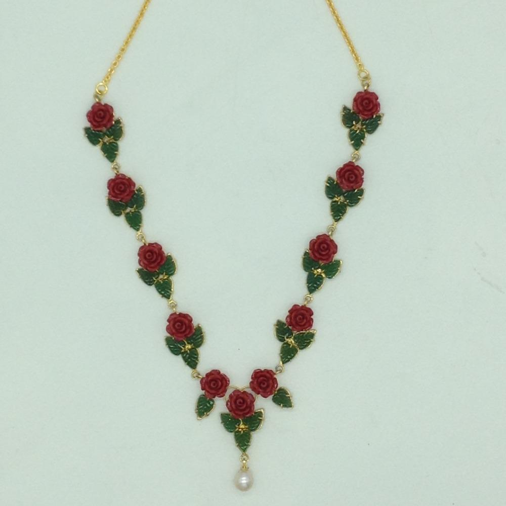 Coral Flower andJade Leaves Necklace Set JNC0134