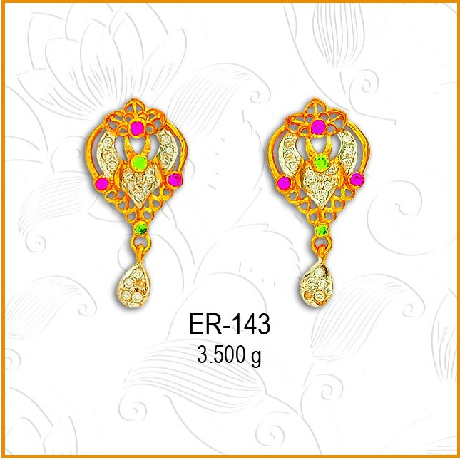 916 Gold CZ Water Drop Shape Earring ER-143