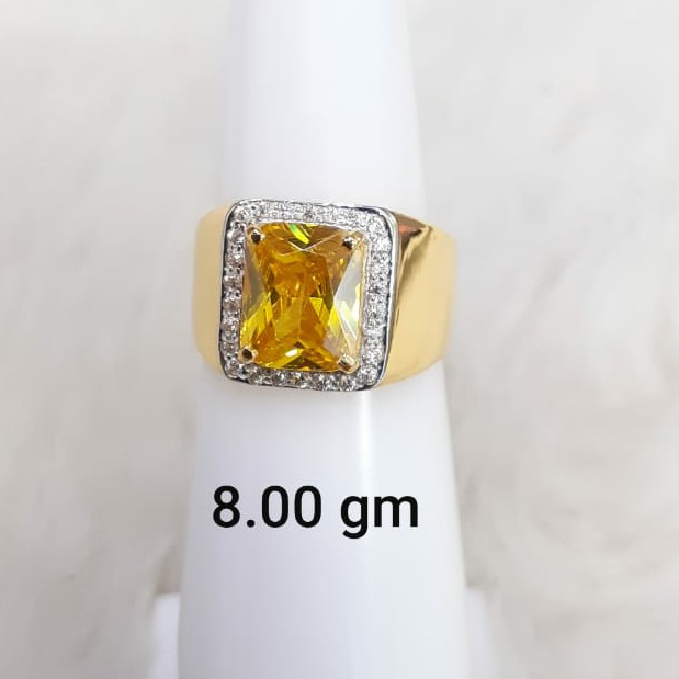 yellow stone solitaire gent's ring