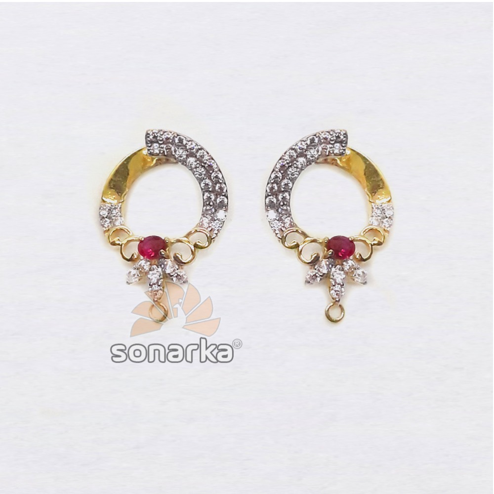916 Gold Indian CZ Diamond Hoop Earrings