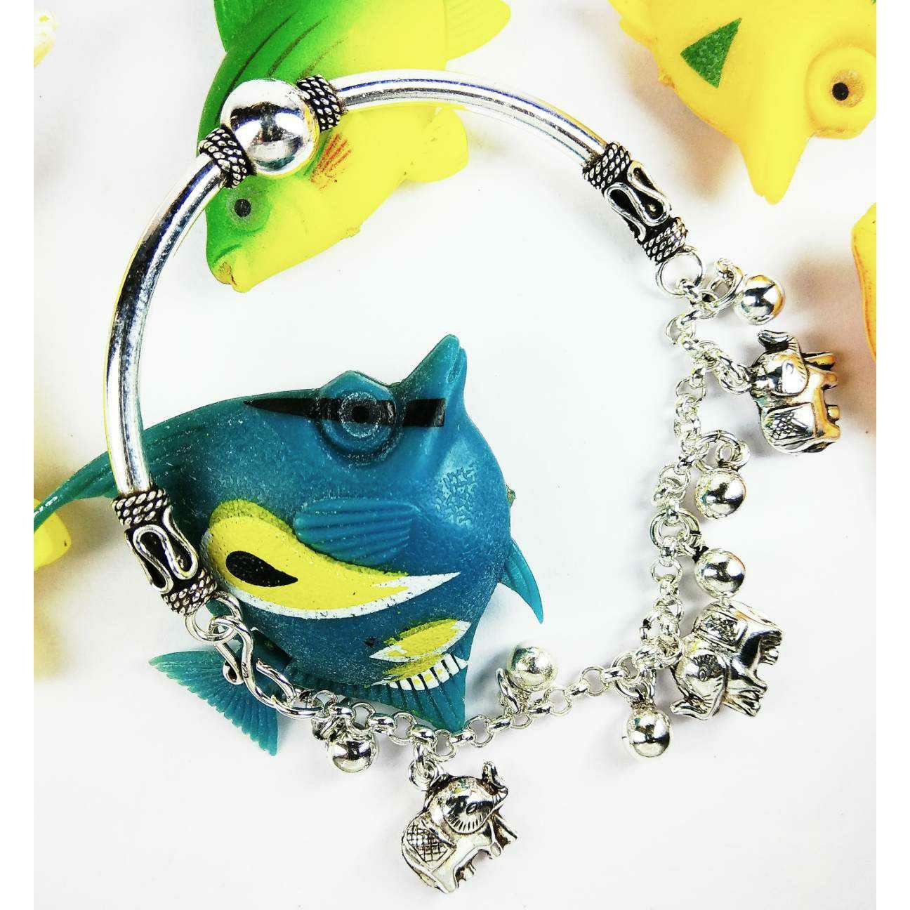 Fancy 925 Silver Ladies Bracelet With Elephants