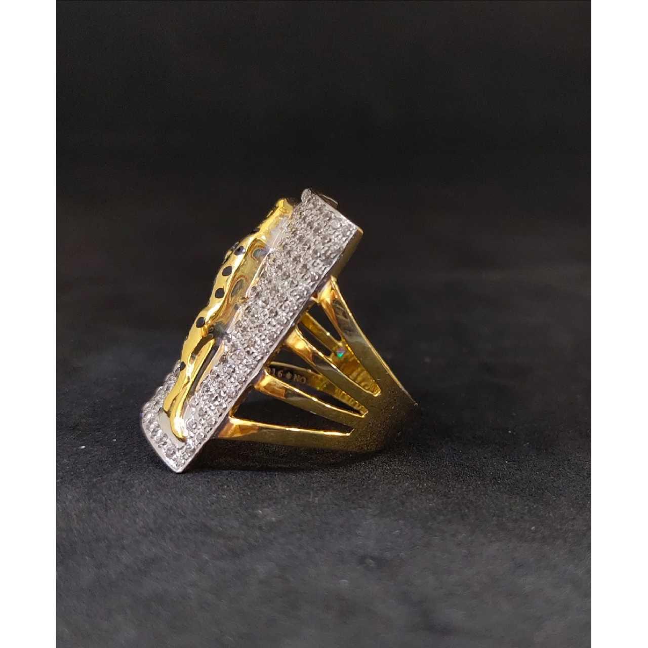22k Cz Gents Jaugar Fancy Gold Ring 27364