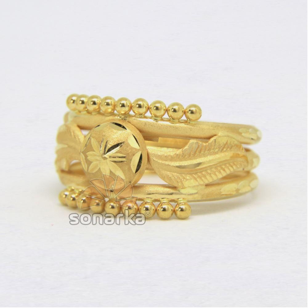 22ct 916 Yellow Gold Ladies Ring Indian Triple Pipe Karda