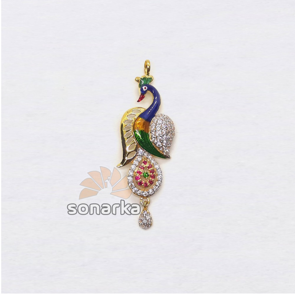 916 Gold Attractive CZ Diamond Peacock Shaped Ladies Pendant