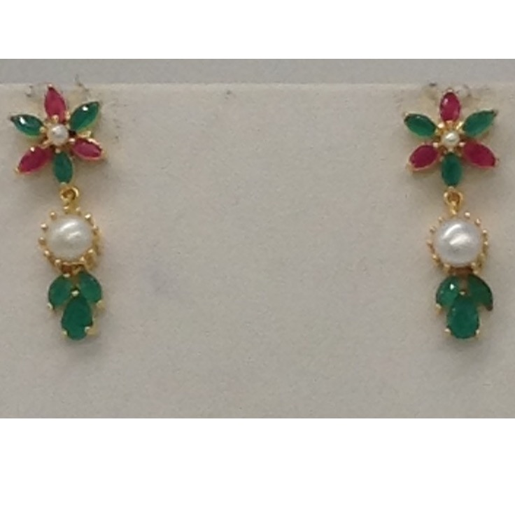 Pearls,Red And Green CZ Stones Marquise Necklace Set JNC0055