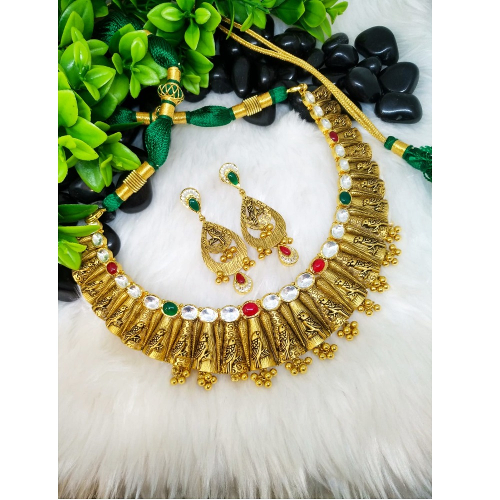 916 Gold Antique Bridal Necklace Set PO-N011