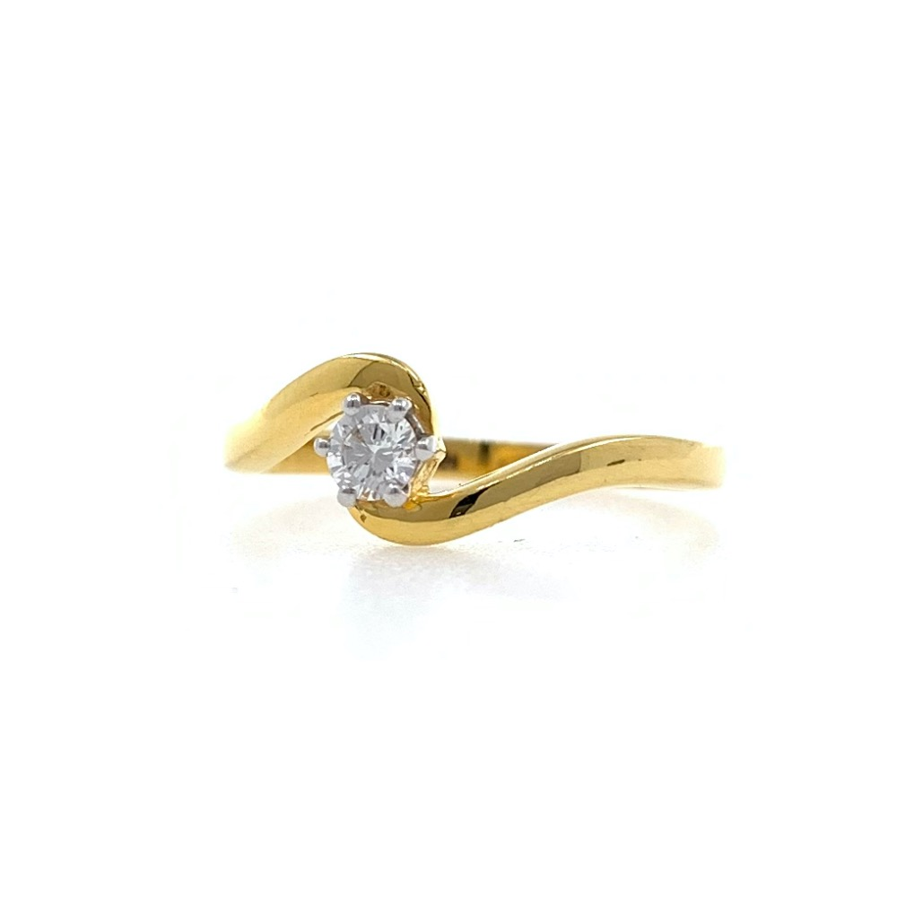 Single Diamond Ladies ring in 18k Yellow Gold - 1.840 grams - VVS EF 12 cents - 0LR75
