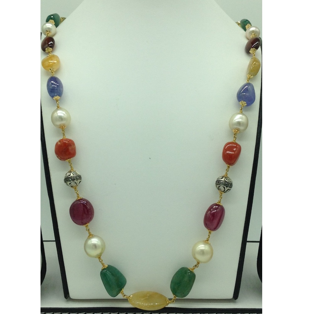 Cream South Sea Round Pearls With Navratan Tumbles And Victorian Balls Gold Taar Necklace JGT0001