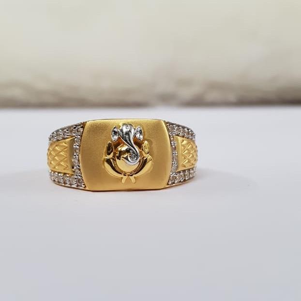 22Kt Gold Cz Fancy Ganpati Ring for Men
