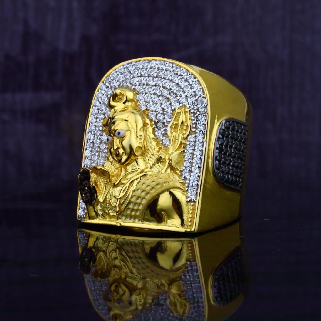Exclusive Mens 916 Shivji God Heavyweight Gold Ring-MGR42