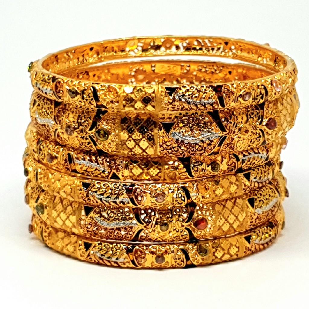 One gram gold forming 6 pieces kada bangles mga - bge0205