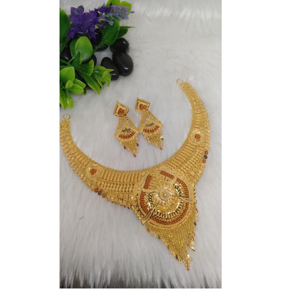 22KT Gold Fancy Short Necklace Set PO-N005