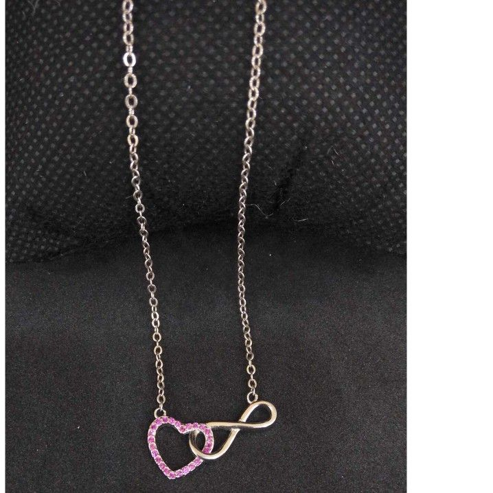 925 Sterling Silver RED HEART Designed Pendant Chain