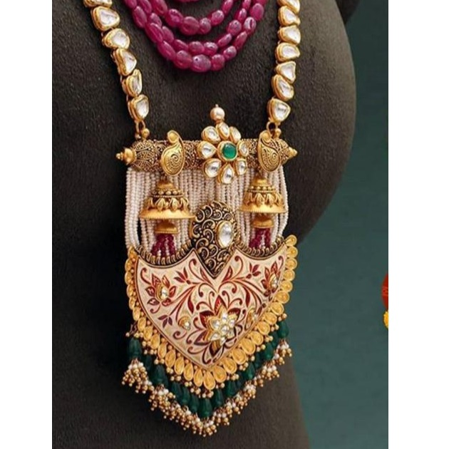 221k Gold Rajwadi Long Necklace Set From Rajkot