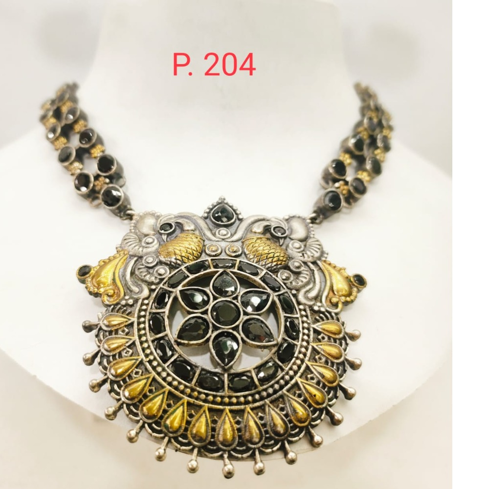 oxidised silver with Gold plated choker Necklace set with Black stone 1664