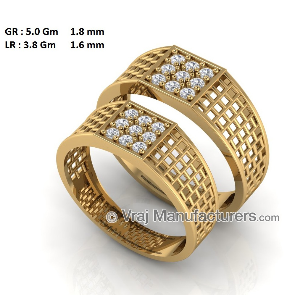 18K Yellow Gold Couple Casting Engagement Rings with CZ Diamonds