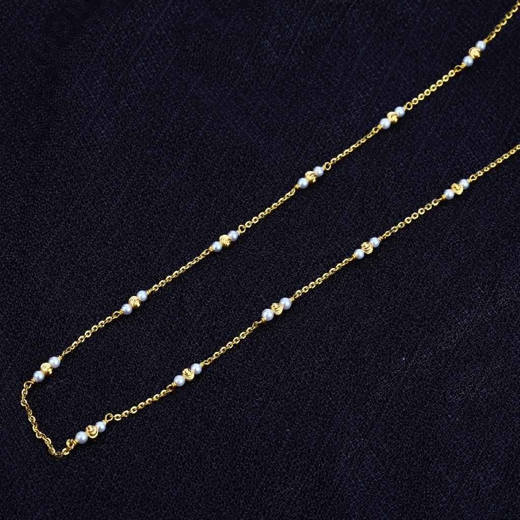 916 Gold Ladies White Moti Mala-AC46