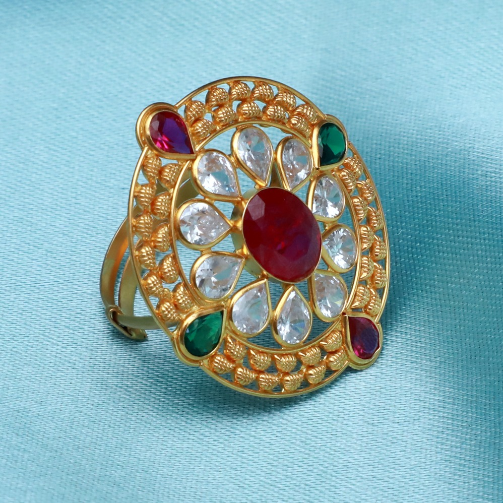 22KT Gold Attractive Color stone Ring PJ-R002