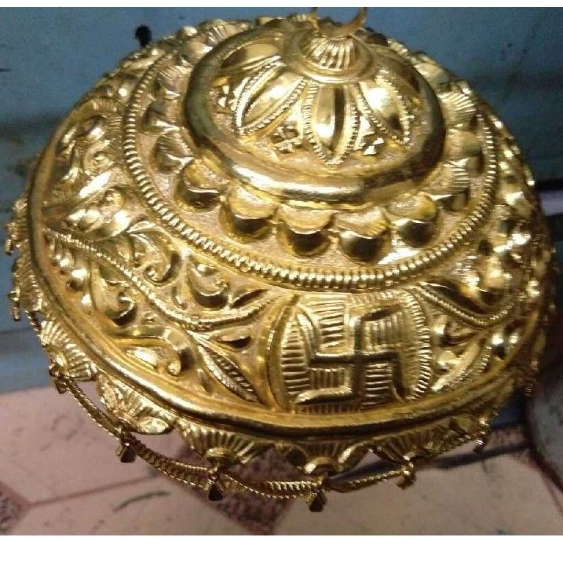 Gold Coated Chhattar For Pooja