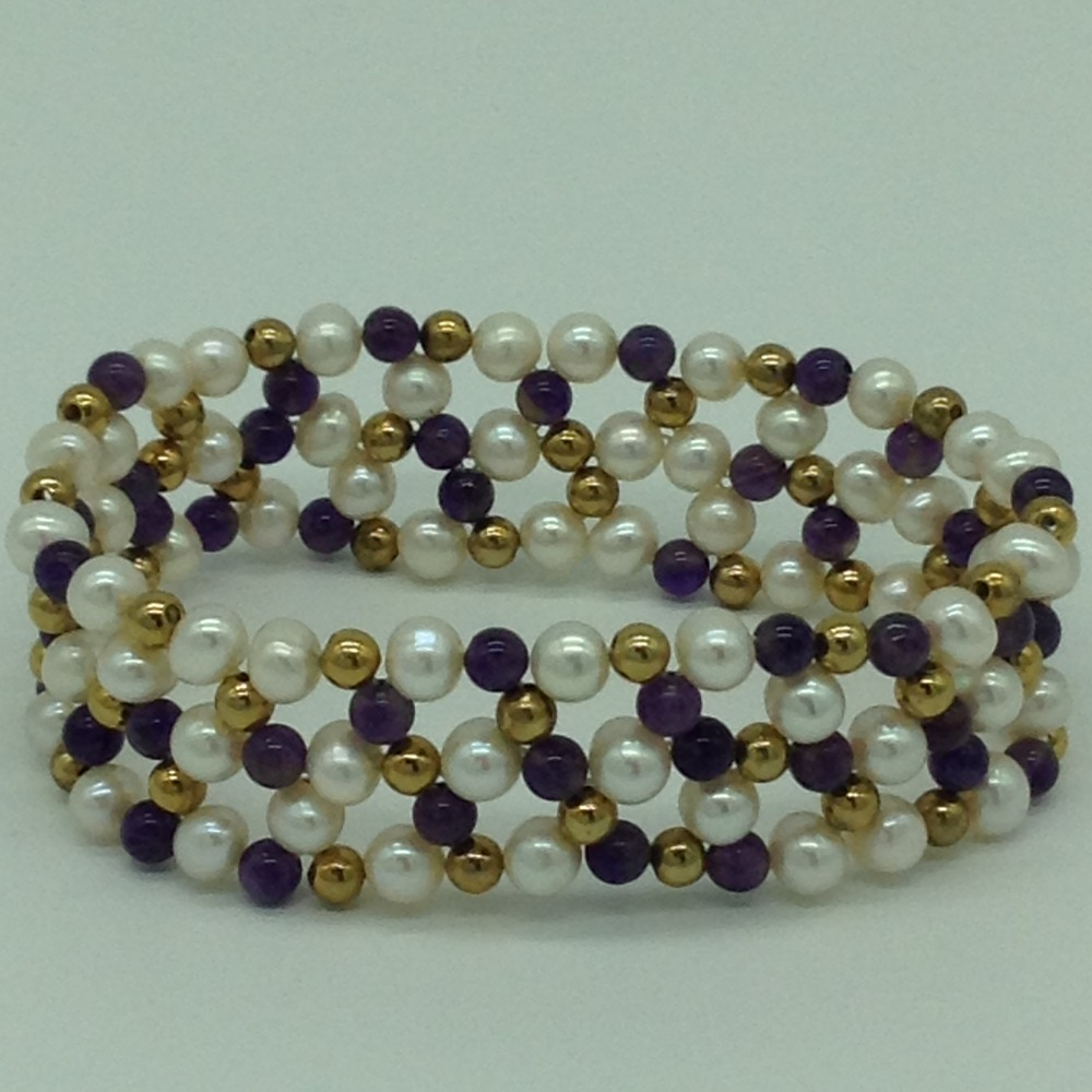 White Round Pearls With Amethyst And Golden Jaco Balls Jali Elastic Bracelet JBG0194