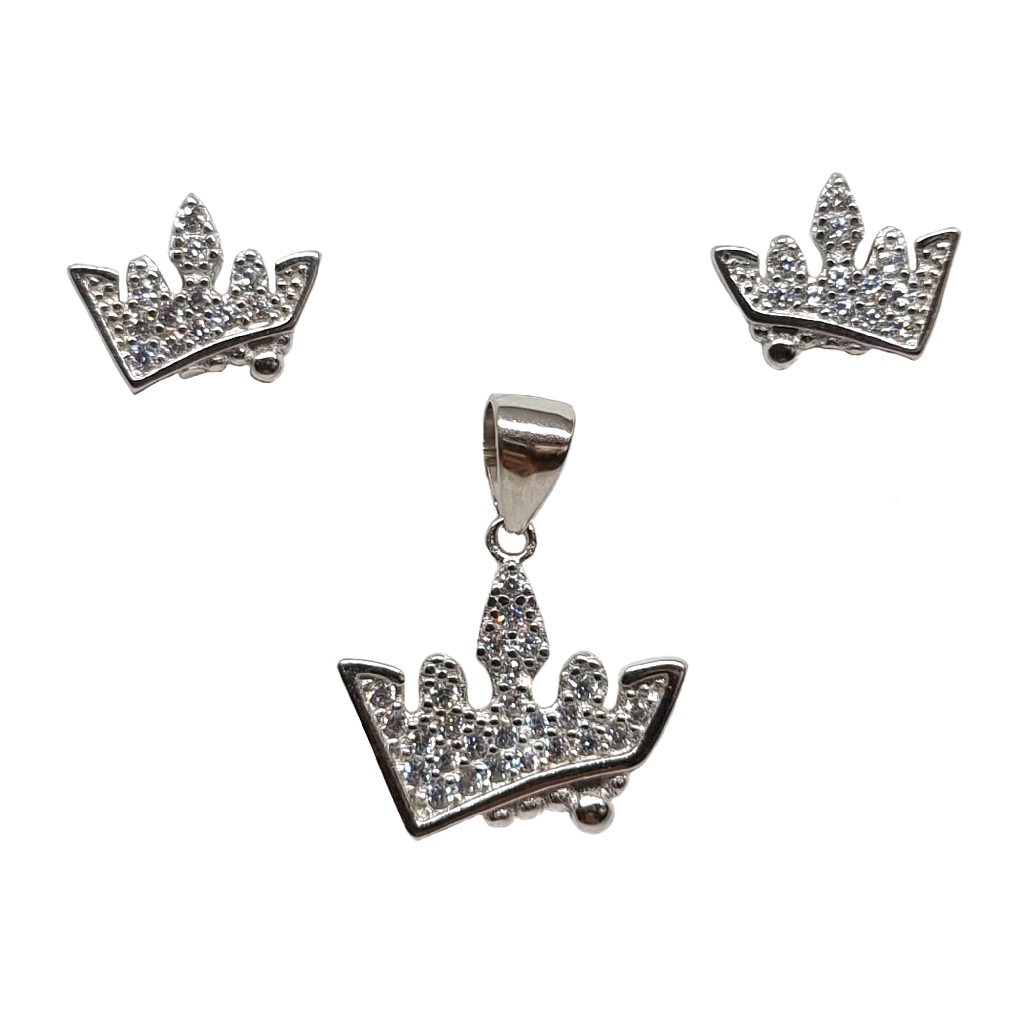 925 Sterling Silver Queen Shape Modern Pendant Set MGA - PDS0197