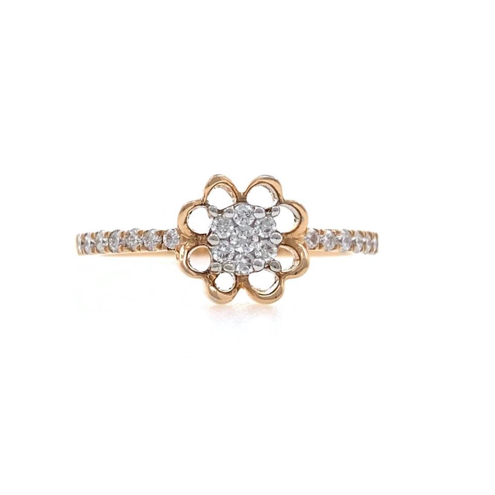 18kt / 750 Rose gold Floral Design Diamond Ladies Ring 9LR299