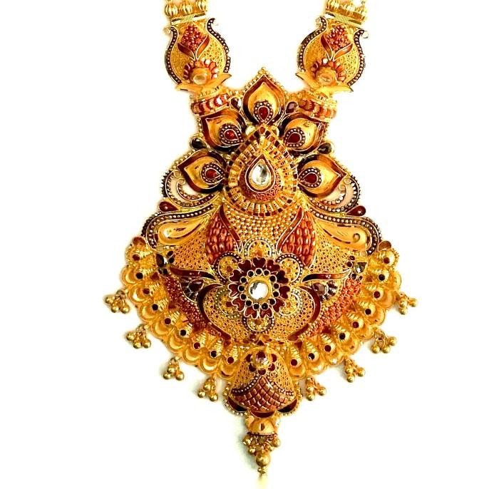22k Gold Kalkatti Meenakari Long Necklace Set MGA - GLS013