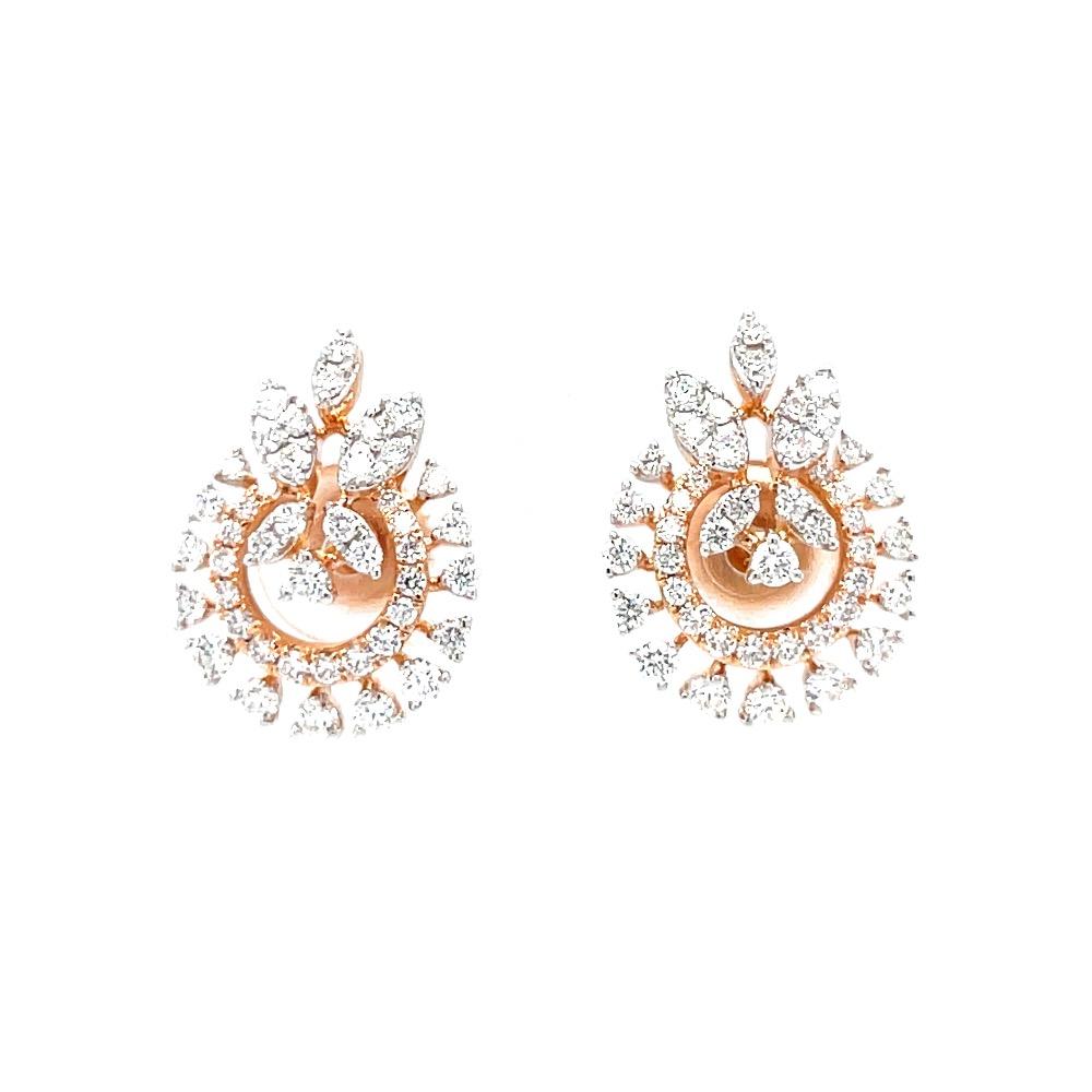 Three petals as motif in a circular diamond stud