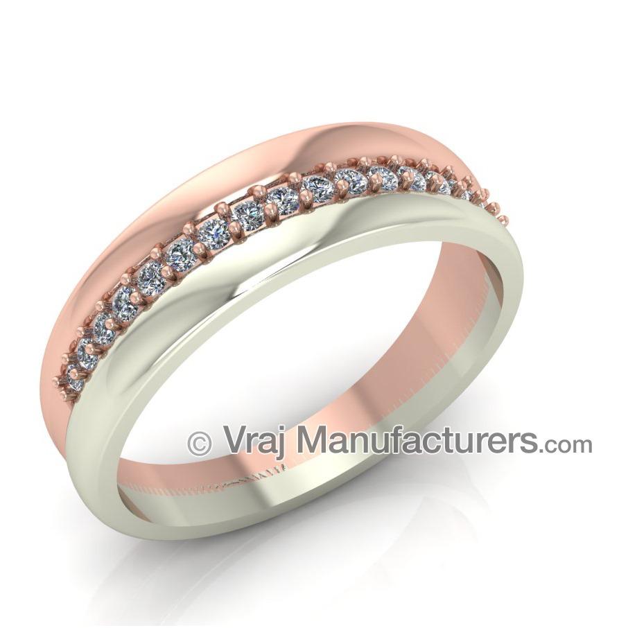 18K White And Rose Gold Casting Diamond Ring For Women