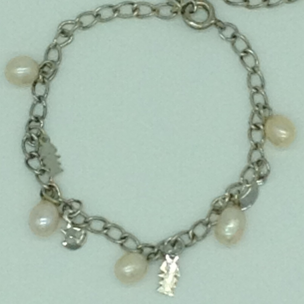 Cream DropPearls With Charms White Alloy ChainBraceletJBG0208