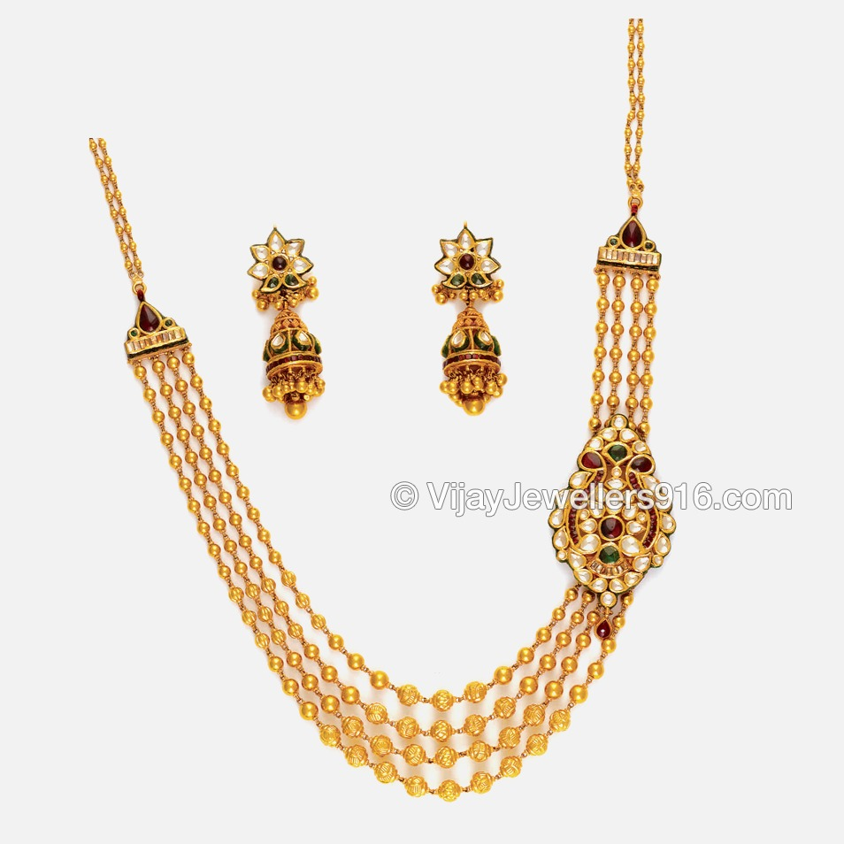 22K Gold Bridal Layered Chain Necklace Set
