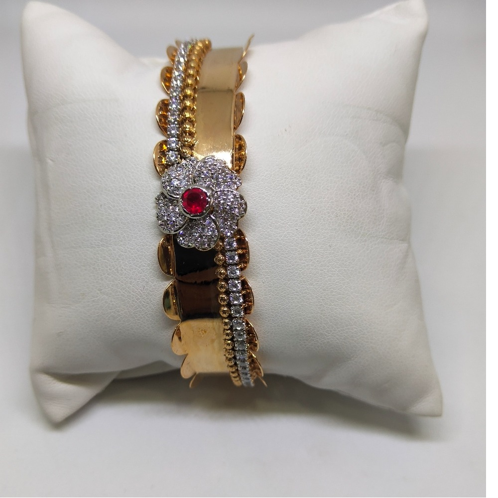 18K Rose gold polished colour diamond bracelet
