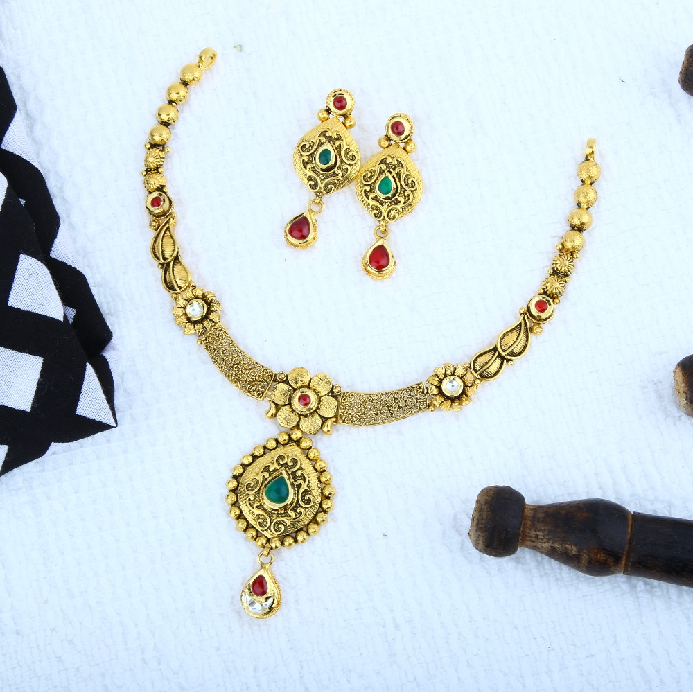 916 Gold Antique Necklace Set STG-0083