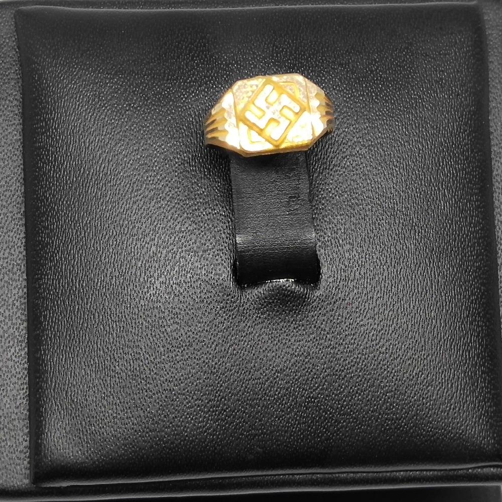 18Kt gold swastik design ring for men dj-r005