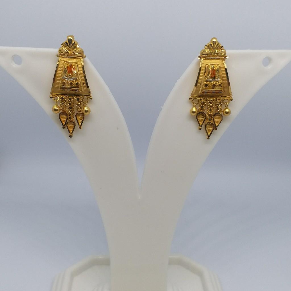 22 kt 916 gold plain earrings