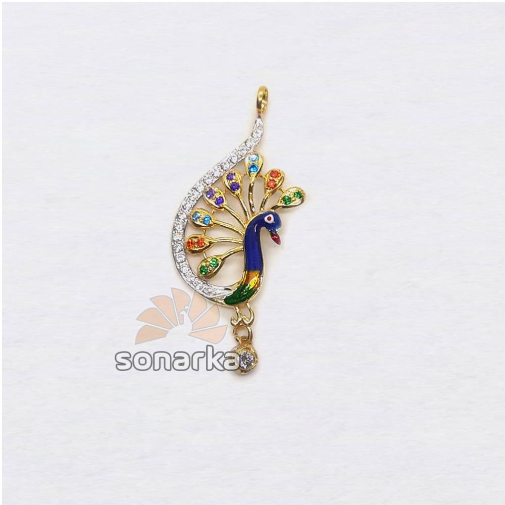 916 Gold Fancy Peacock Shaped CZ Diamond Ladies Pendant