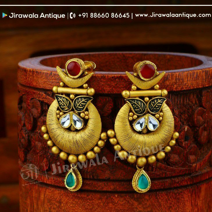 Antique Jadau 22kt 916 Set Long Earring With 3 Step Style