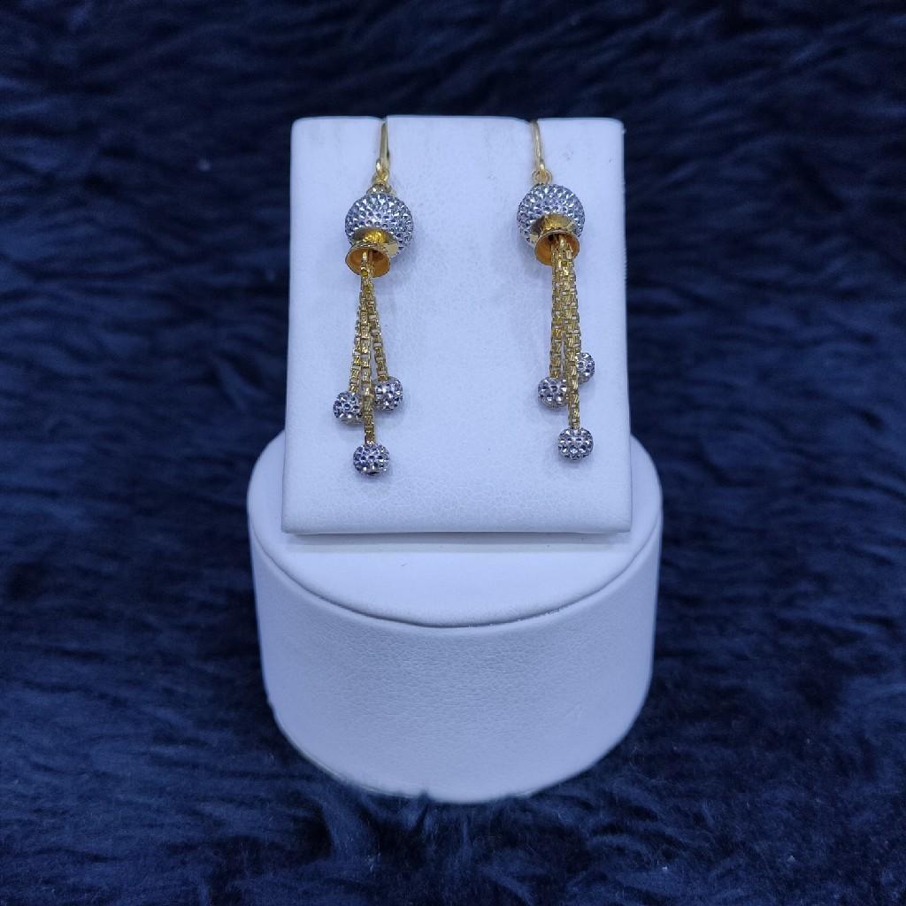 22KT/916 Yellow Gold Fancy Earrings Hanging Ser GLK-8