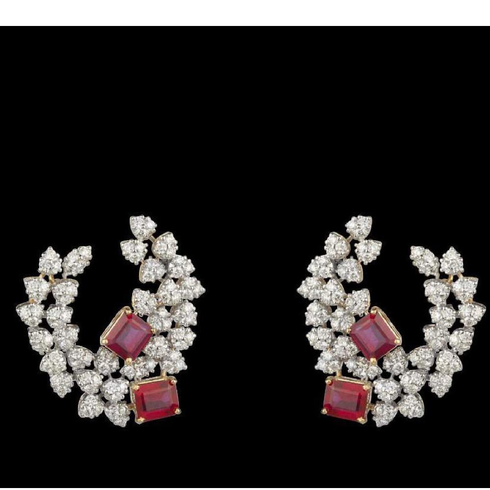 Diamonds and Ruby EarringsJSJ0118
