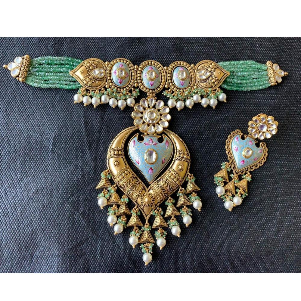 royal 916 gold antique Choker set from rajkot