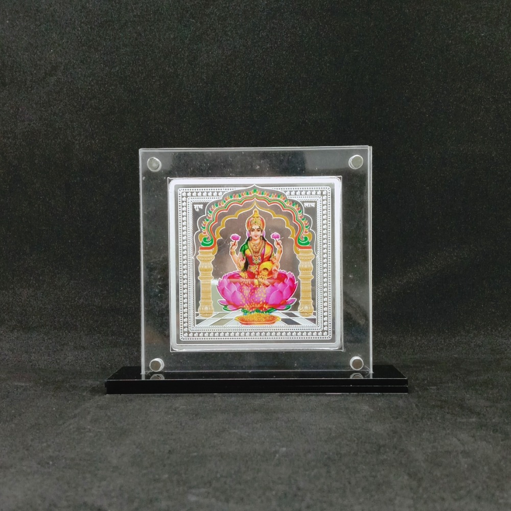 Pure Silver Designer Coin of Laxmi in Color Printing and Yantra