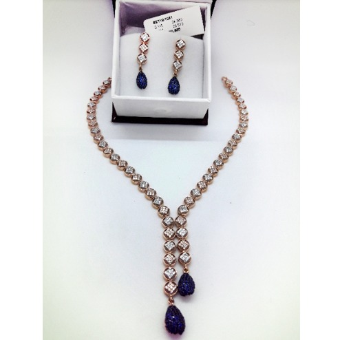 916 Gold Fancy Blue Stone Diamond Necklace Set CMJ-N001